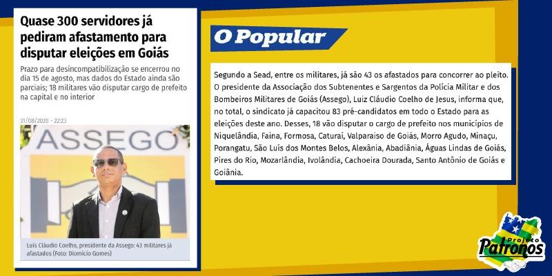 """PROJETO PATRONOS É DESTAQUE NO """"O POPULAR"""""""