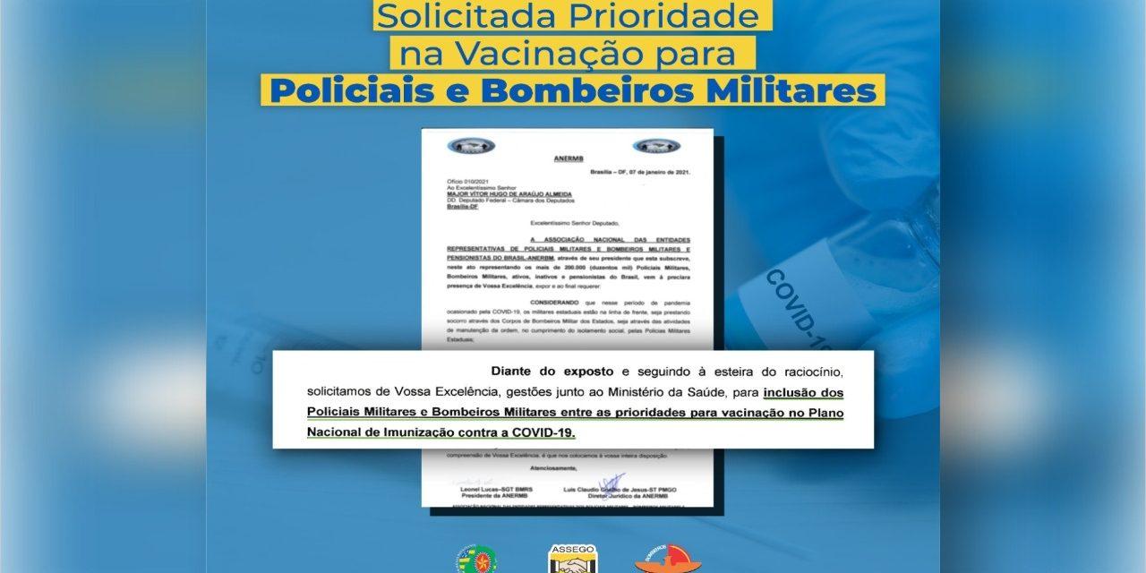 Solicitada prioridade na vacinação de policiais e bombeiros militar