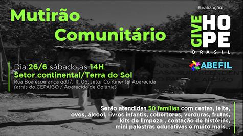 Mutirão Comunitário GIVE HOPE BRASIL!