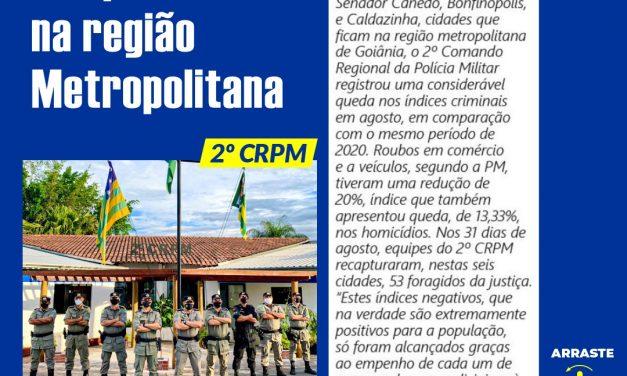 CRIMINALIDADE EM QUEDA NA REGIÃO METROPOLITANA