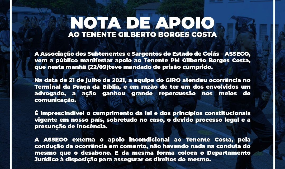 Nota de Apoio ao Tenente PM Gilberto Borges Costa
