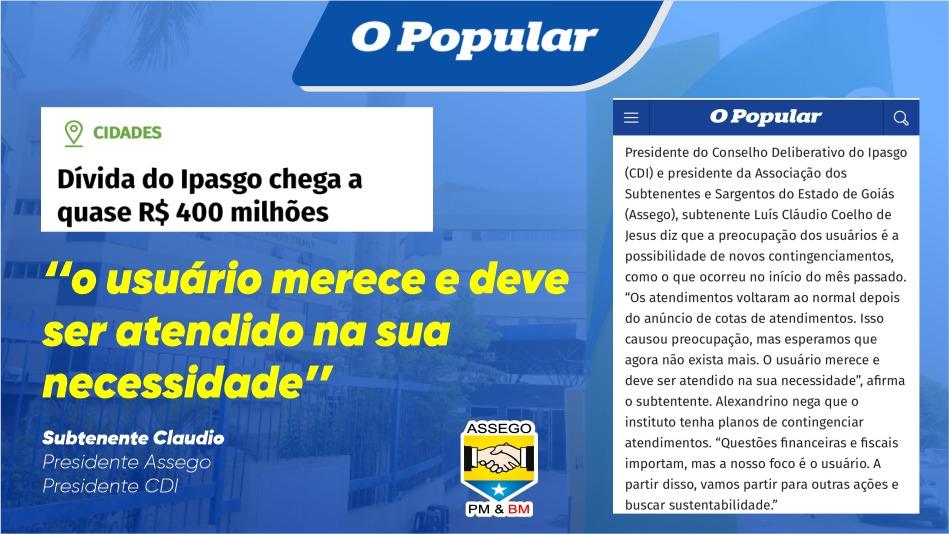 Dívida do Ipasgo chega a R$ 400 milhões